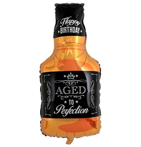 "34"" Aged to Perfection Whiskey Bottle Shape Foil Balloon"