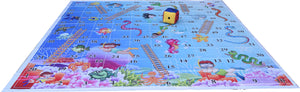 10x10 Ft Snakes & Ladders (Aquatic Theme) Floor Mat with 8 inch Dice