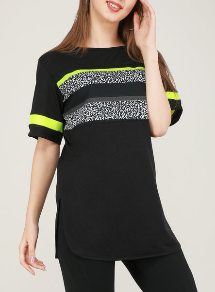 Black Flouroscent Stripes Long T-Shirt