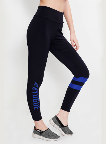 Navy Tights with Blue Stripes