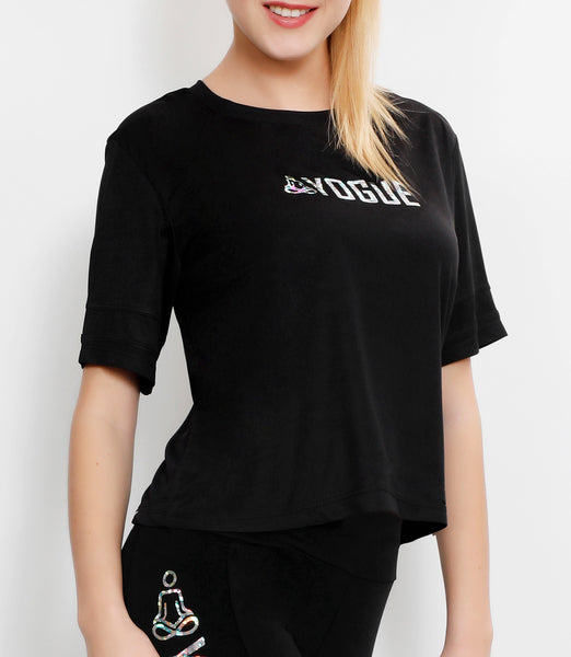 Black Crop Top with Glitter Logo