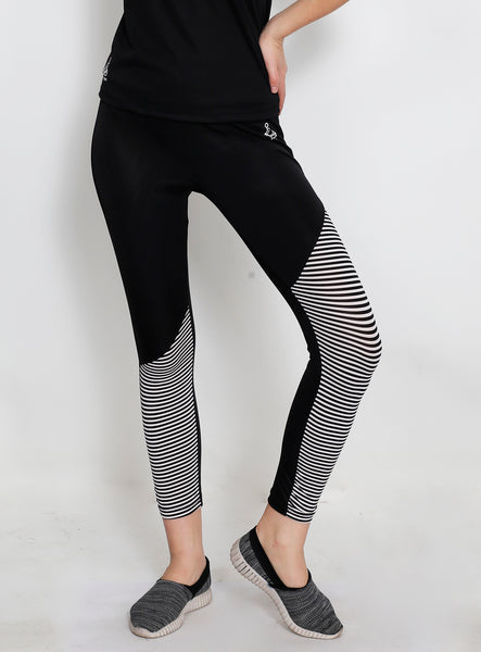 Black & White Stripes SlantCut Tights