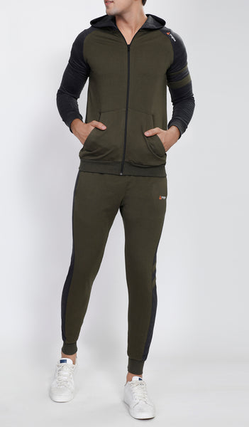 Millitary Green Hooded Tracksuit with Charcoal Contrast