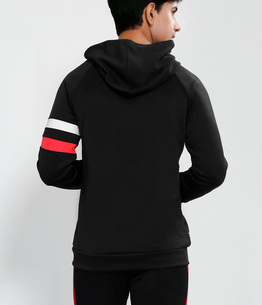 Black Red White Armband Hooded Jacket