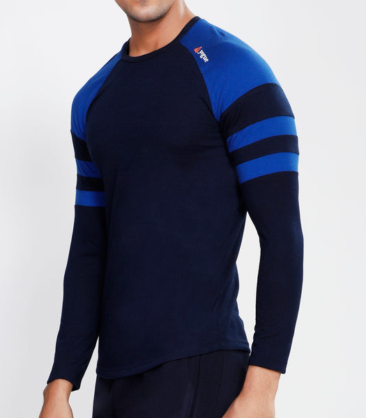 Navy Blue ArmBand Full Sleeve T-Shirt - Cotton