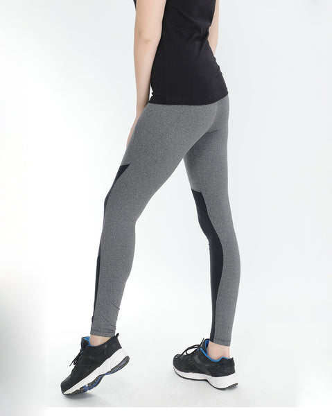 Grey Black Tights with Mesh Detail