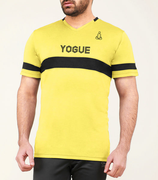Yellow & Black Stripe V-Neck T-Shirt