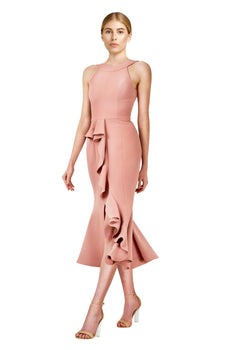 Nicholas - Crepe Asymmetric Ruffle Dress - Rose - BRAND NEW FOR SALE