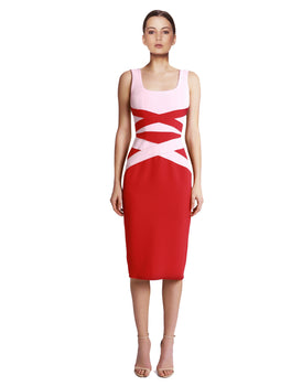 Yeojin Bae - Double Crepe Jena Dress - Red & Pink