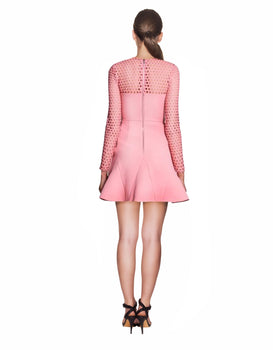 Yeojin Bae -  Embroidered Net Double Crepe Mia Dress Pink
