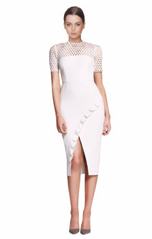 Yeojin Bae - Embroidered Net Double Crepe Piper Dress White