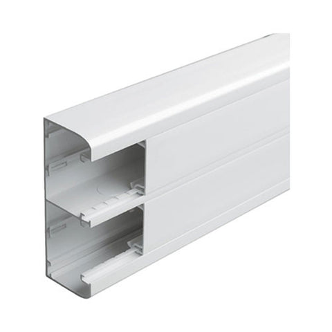 Snap-On Trunking - 2 Compartment, 2m With Cover - White
