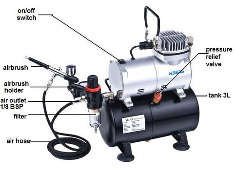 AS186K Haosheng  Airbrush and Compressor Combo