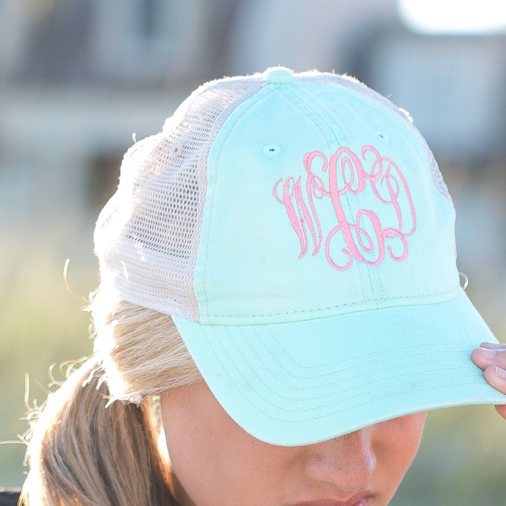 Monogrammed Coastal Mesh Caps | 6 Colors