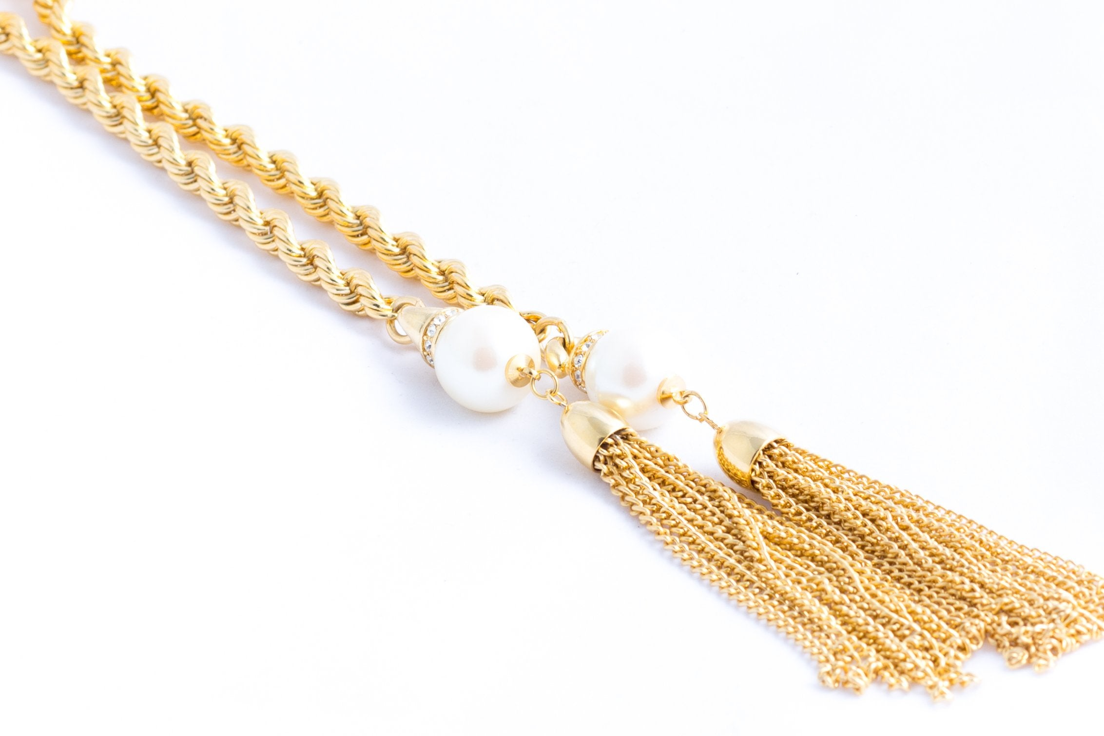 Pearl and Crystal Tassle Lariat