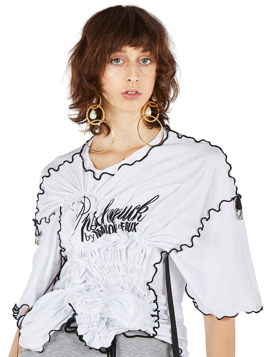 odd92 Maison the Faux Spring/Summer 2019 White Ruched T-Shirt - 2