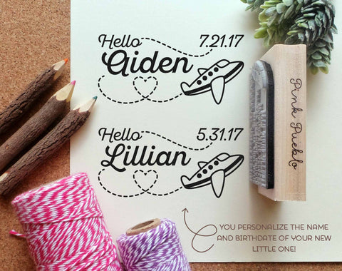 Personalized Airplane Baby Shower Stamp, Birth Announcement Rubber Stamp with Airplane - PinkPueblo