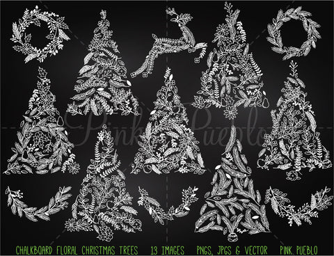 Chalkboard Floral Christmas Tree Clipart and Vectors - PinkPueblo