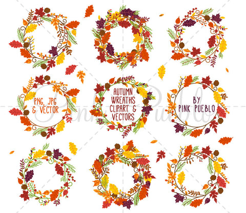 Autumn Wreath Clipart and Vectors - PinkPueblo