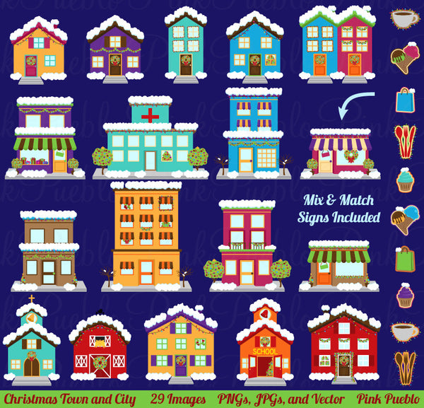 Christmas Village Clipart & Vectors - PinkPueblo