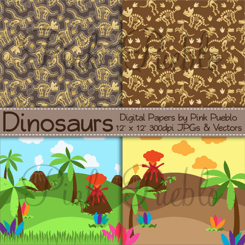 Dinosaur Digital Papers, Backgrounds and Patterns - PinkPueblo