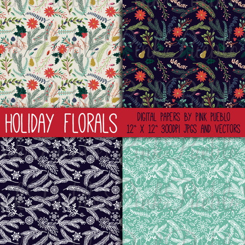 Christmas Holiday Floral Patterns - PinkPueblo