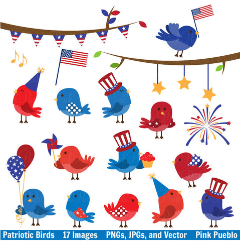 4th of July Birds Clipart & Vectors - PinkPueblo