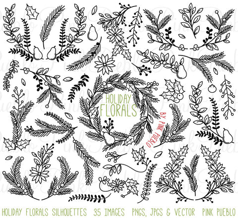 Christmas Holiday Floral Silhouettes Clipart - PinkPueblo