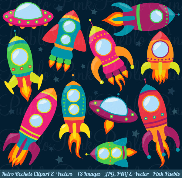 Retro Rockets Clipart and Vectors - PinkPueblo