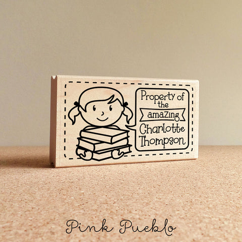 Bookplate Stamp for Kids, Personalized Bookplates for Kids - Choose Hairstyle and Text - PinkPueblo