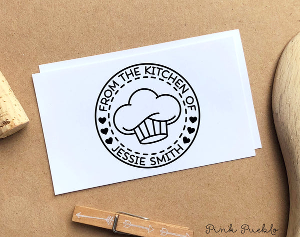 From the Kitchen of Stamp, Personalized Recipe Card Stamp - PinkPueblo