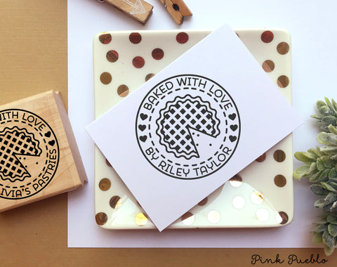 Baked with Love Stamp, Baked by Stamp, Baked Goods Label Stamp - Personalized - PinkPueblo