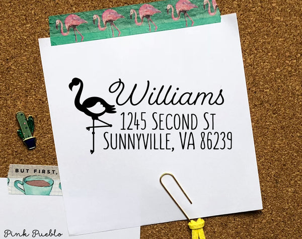 Personalized Self Inking Address Stamp with Flamingo, Flamingo Return Address Stamp Self Inking - Choose Your House - PinkPueblo