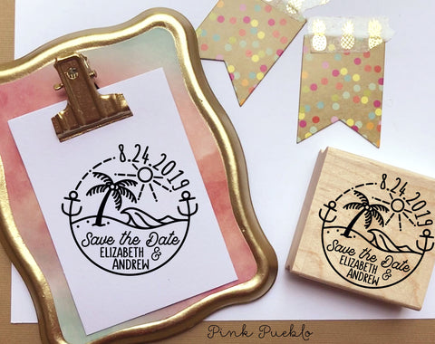 Beach Save the Date Stamp, Beach Destination Wedding Stamp - PinkPueblo