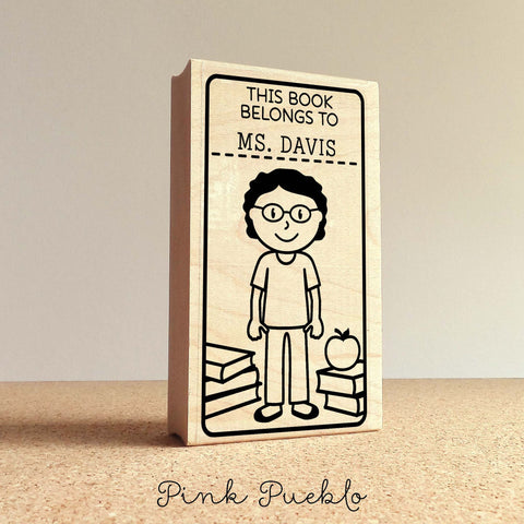 Teacher Book Stamp, Personalized Custom Bookplate Rubber Stamp, Teacher Stamps - Choose Hairstyle, Clothing and Name