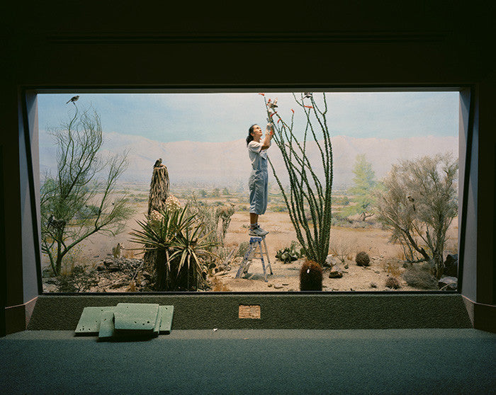 Richard Barnes - Desert Scene with Woman & Coyotes  - available in 3 sizes, Chromogenic Print Mounted to Archival Substrate, Framed in White with Plexiglass,  - Bau-Xi Gallery