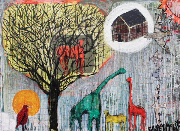 Casey McGlynn - Horse in Tree, House in Sky, Mixed Media on Canvas, Unframed,  - Bau-Xi Gallery