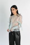 Wrap-up Sleeve Silk Organza Top