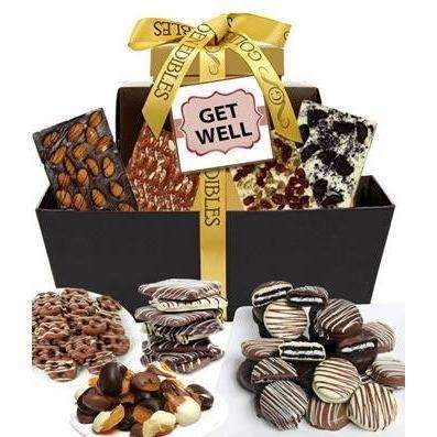 Get Well Chocolate Gift Tower - Fine Gifts La Bella Basket Company