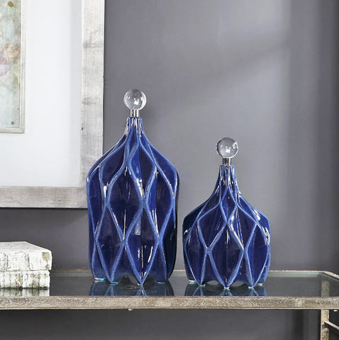 Klara Cobalt Blue Decorative Bottles - Innovations Designer Home Decor