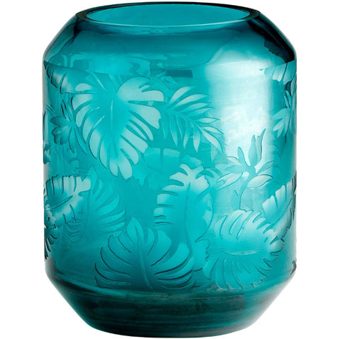 Sumatra Turquoise Etched Art Glass Vase - Innovations Designer Home Decor
