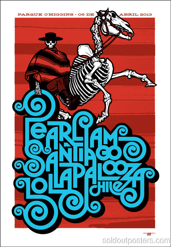 Lollapalooza - 2013 Ames Bros Pearl Jam poster Santiago, Chile