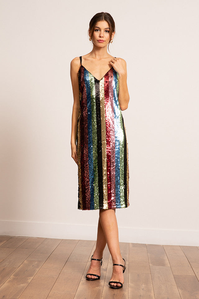 Lucy Paris - Multi Striped Sequined Dress