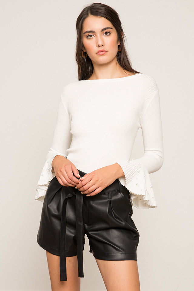Lucy Paris - Bella Pearl Sweater - White