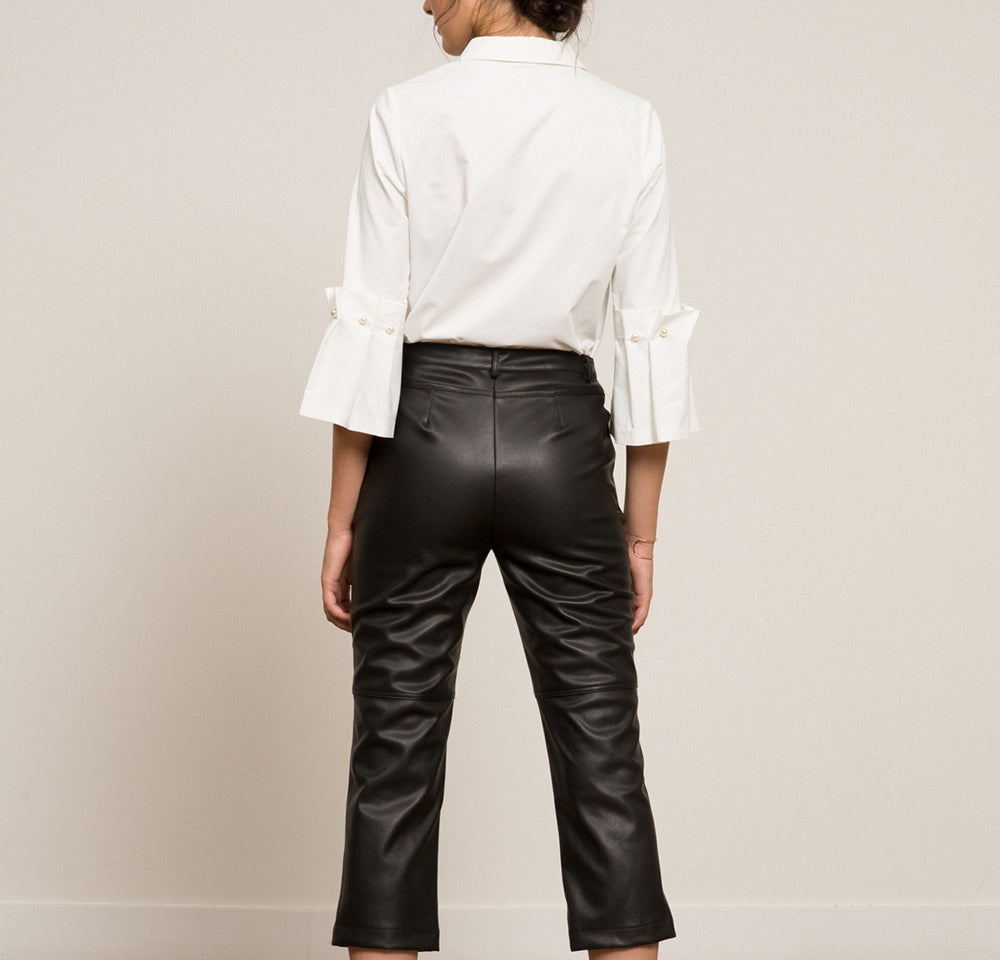 Eliza Faux Leather Cropped Pant