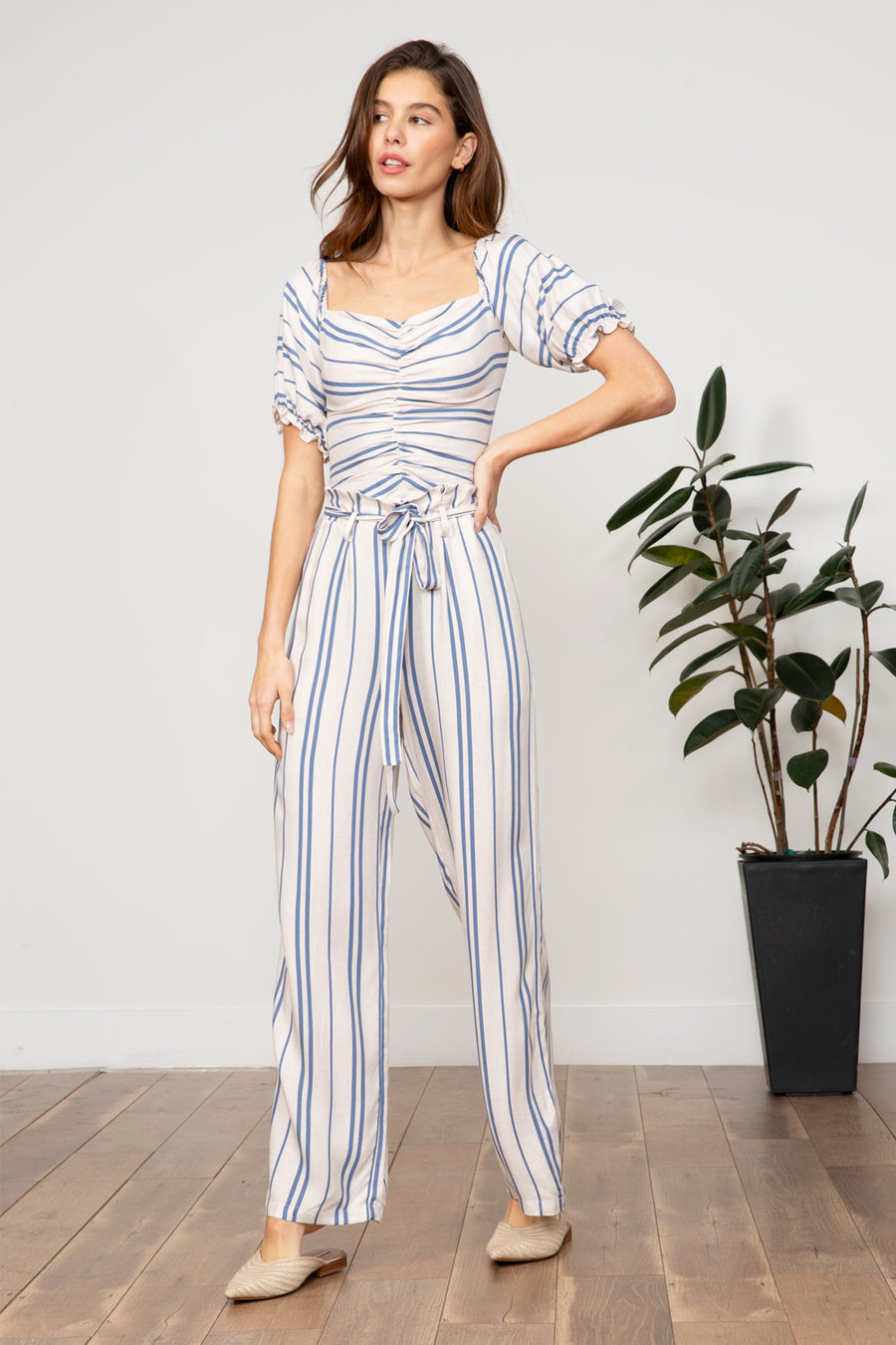 Lucy Paris - Mila Striped Paperbag Pant
