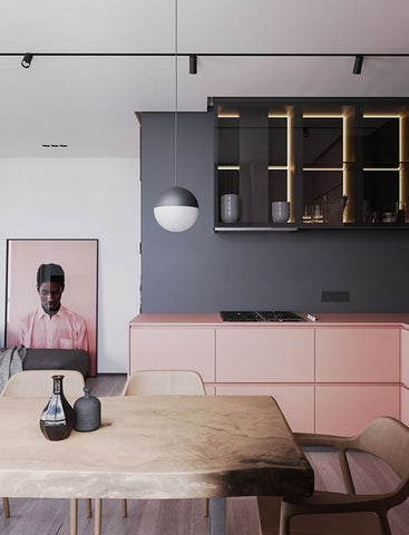 pink kitchen with grey splashback