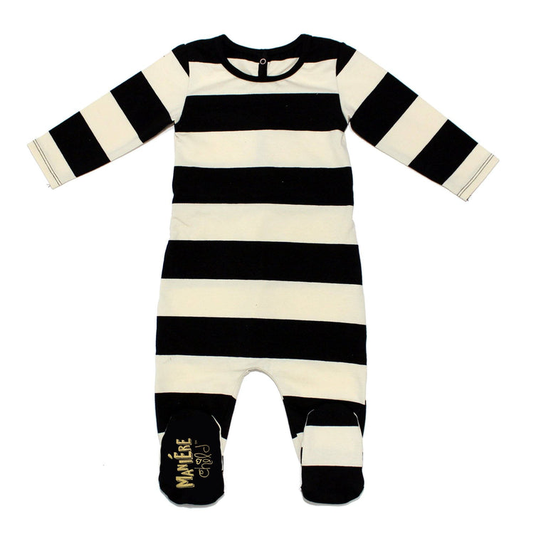 Striped Cotton Footie (winter colors)