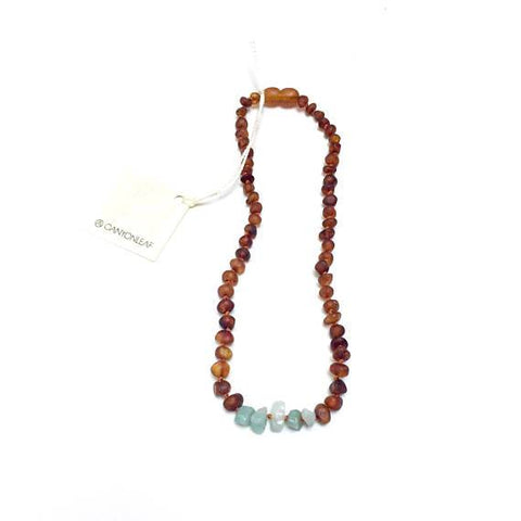 Canyon Leaf Baltic Amber + Amazonite Necklace (Children's Sizes)