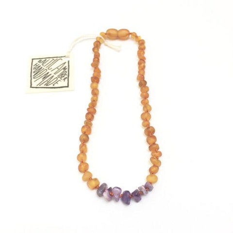 Canyon Leaf Baltic Amber + Amethyst Necklace (Youth's Sizes)